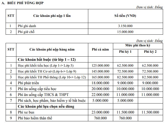 Học phí trường Phổ thông Liên cấp Olympia, quận Nam Từ Liêm, Hà Nội (Ảnh: website nhà trường)