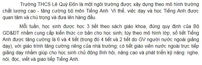 Chương trình học trường Dân lập Lê Quý Đôn, cấp THCS quận Nam Từ Liêm, Hà Nội (Ảnh: website nhà trường)