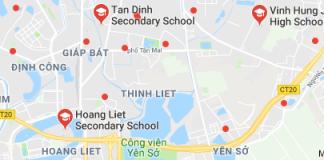 Danh mục các trường THCS công lập quận Hoàng Mai - Hà Nội (Ảnh: Google Maps)