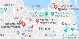Danh mục các trường THCS công lập quận Ba Đình - Hà Nội (Ảnh: Google Maps)