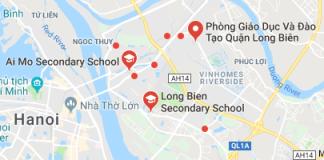Danh mục các trường THCS công lập quận Long Biên - Hà Nội (Ảnh: Google Maps)