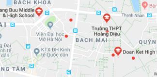 Danh mục trường THPT công lập quận Hai Bà Trưng, Hà Nội (Ảnh: Google Maps)