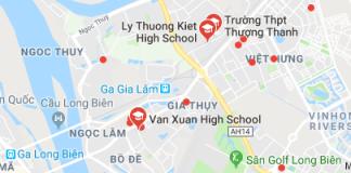 Danh mục các trường THPT công lập quận Long Biên, Hà Nội (Ảnh: Google Maps)