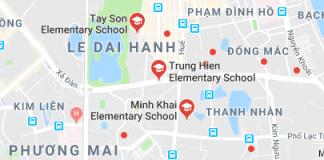 Danh mục các trường Tiểu học công lập quận Hai Bà Trưng, Hà Nội (Ảnh: Google Maps)