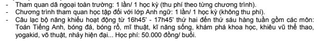 Hoạt động ngoại khoá trường Tiểu học Lý Thái Tổ, Cầu Giấy, Hà Nội