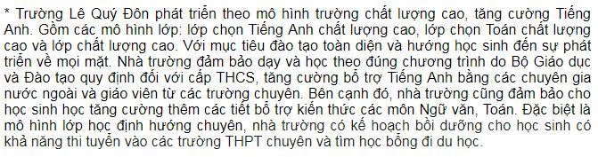 Mô hình trường lớp trường Dân lập Lê Quý Đôn, cấp THCS tại quận Nam Từ Liêm, Hà Nội (Ảnh: website nhà trường)
