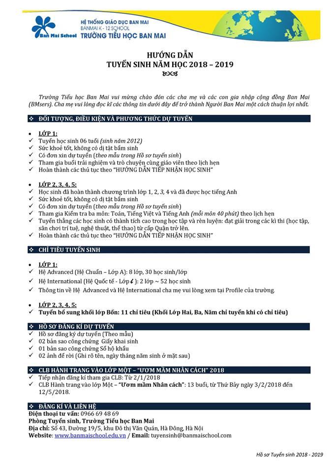 Thông tin tuyển sinh năm học 2018-2019 Tiểu học Ban Mai, Văn Quán, Hà Đông, Hà Nội (Ảnh: FB trường)