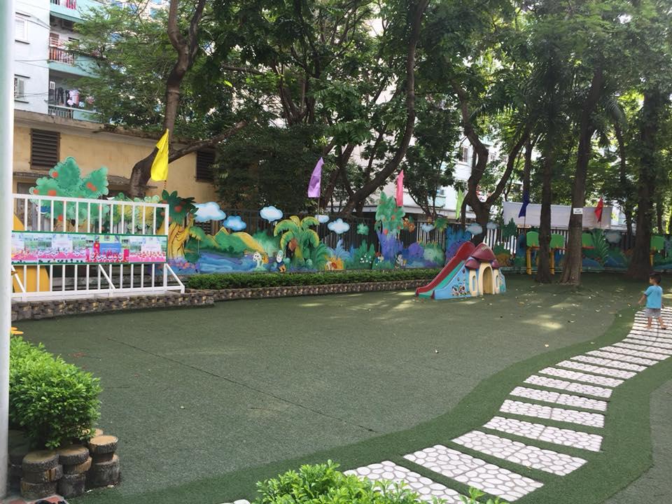 Cơ sở vật chất trường mầm non Thực hành Linh Đàm, quận Hoàng Mai, Hà Nội (Ảnh: FB Phương Thảo Phạm)