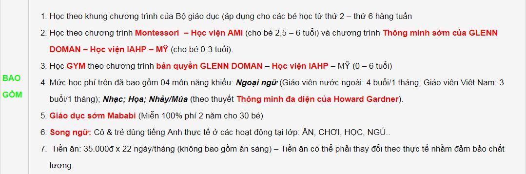 Học phí trường mầm non Bambi House tại quận Thanh Xuân, Hà Nội, chương trình song ngữ (Ảnh: website trường)