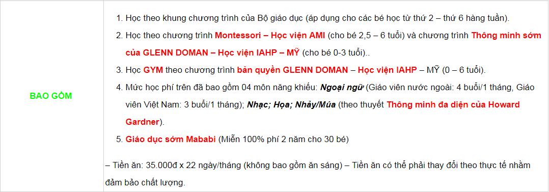 Học phí trường mầm non Bambi House tại quận Thanh Xuân, Hà Nội, chương trình tiếng Việt (Ảnh: website trường)