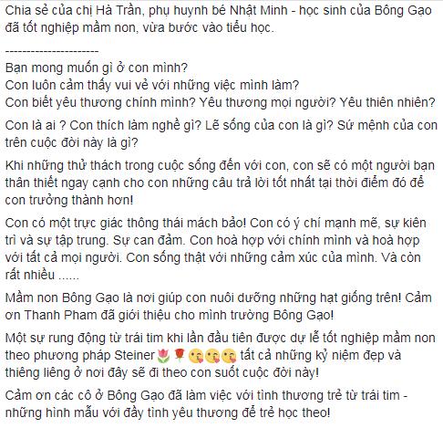 Nhận xét, đánh giá của phụ huynh về trường mầm non Bông Gạo Steiner tại quận Nam Từ Liêm, Hà Nội (Ảnh: FB trường)