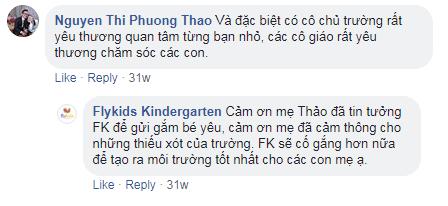 Nhận xét, đánh giá của phụ huynh về trường mầm non FlyKids – Bé Biết Bay tại quận Hoàng Mai, Hà Nội (Ảnh: FB trường)