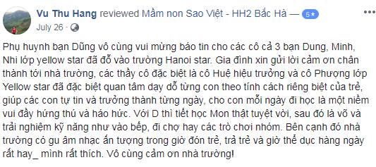 Nhận xét, đánh giá của phụ huynh về trường mầm non Sao Việt, quận Thanh Xuân, Hà Nội (Ảnh: FB trường)