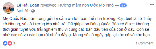 Nhận xét, đánh giá của phụ huynh về trường mầm non Ước mơ nhỏ - Little Dream tại quận Hoàng Mai, Hà Nội (Ảnh: FB trường)