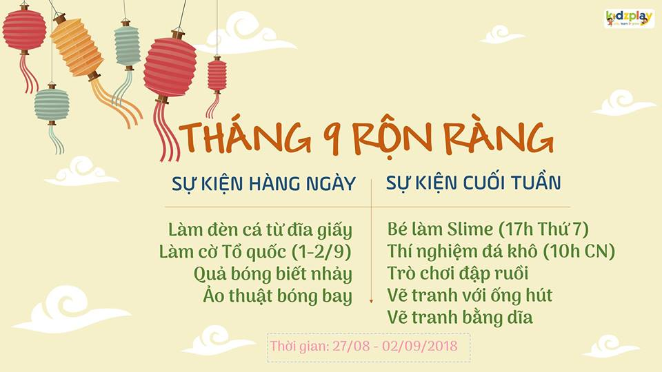 Sự kiện Tháng 9 rộn ràng tại khu vui chơi Kidsplay, Hà Nội dịp nghỉ lễ 2/9 (Ảnh: FB sự kiện)