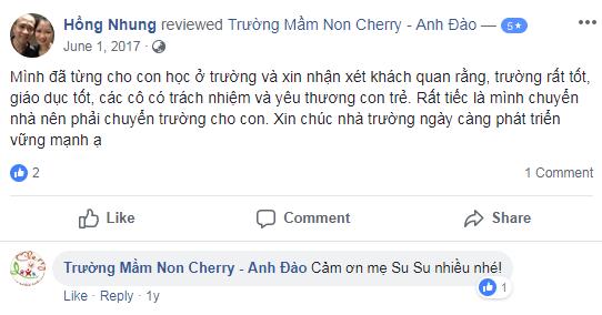 Nhận xét, đánh giá của phụ huynh về trường mầm non Cherry - Anh Đào quận Hoàng Mai, Hà Nội (Ảnh: FB trường)