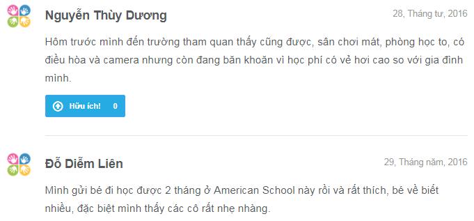 Nhận xét, đánh giá của phụ huynh về trường mầm non American School - ASG tại 5 quận Hà Nội (Ảnh: Kiddi.vn)
