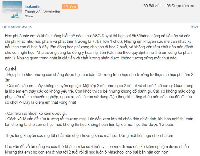 Nhận xét, đánh giá của phụ huynh về trường mầm non American School - ASG tại 5 quận Hà Nội (Ảnh: Webtretho)