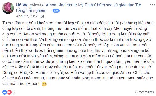 Nhận xét, đánh giá của phụ huynh về trường mầm non Amon Kindercare tại quận Nam Từ Liêm, Bắc Từ Liêm, Hà Nội (Ảnh: FB trường)