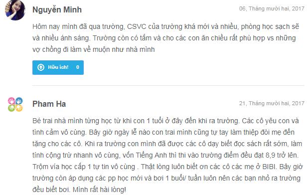 Nhận xét, đánh giá của phụ huynh về trường mầm non Bi Bi, quận Thanh Xuân, Hà Nội (Ảnh: Kiddi.vn)