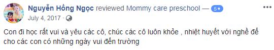 Nhận xét, đánh giá của phụ huynh về trường mầm non Mommy Care, quận Ba Đình, Hà Nội (Ảnh: FB trường)