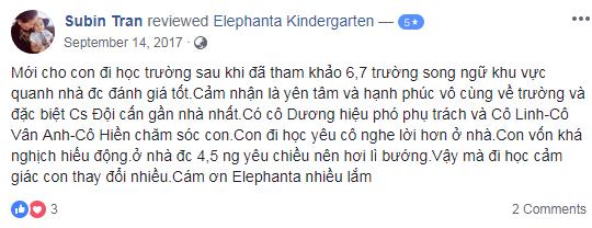 Nhận xét, đánh giá của phụ huynh về trường mầm non song ngữ Elephanta, quận Ba Đình, Hà Nội (Ảnh: FB trường)