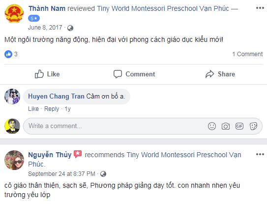 Nhận xét, đánh giá của phụ huynh về trường mầm non Thế giới Bé nhỏ - Tiny World tại quận Hoàng Mai, Hà Đông, Hà Nội (Ảnh: FB trường)