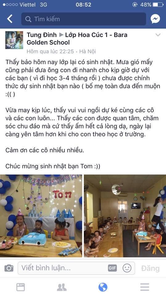 Nhận xét, đánh giá của phụ huynh về trường mầm non Bara Golden School tại quận Hoàn Kiếm, Hà Nội (Ảnh: FB trường)
