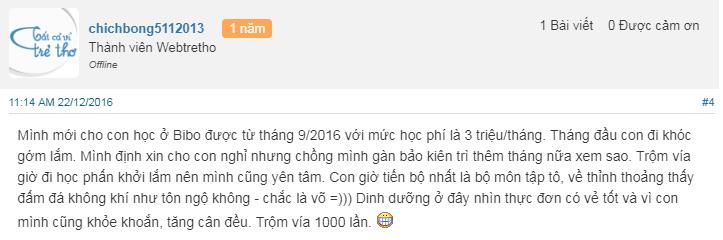 Nhận xét, đánh giá của phụ huynh về trường mầm non Bibo House tại quận Cầu Giấy, Hà Nội (Ảnh: Webtretho)