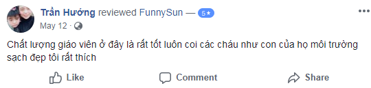 Nhận xét, đánh giá của phụ huynh về trường mầm non Funny Sun - Mặt trời vui nhộn tại quận Cầu Giấy, Hà Nội (Ảnh: FB trường)