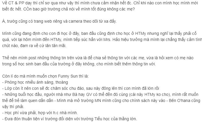 Nhận xét, đánh giá của phụ huynh về trường mầm non Funny Sun - Mặt trời vui nhộn tại quận Cầu Giấy, Hà Nội (Ảnh: Webtretho)