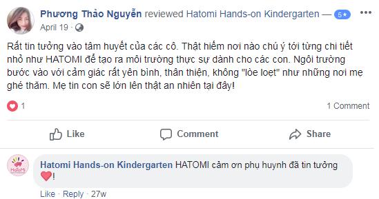 Nhận xét, đánh giá của phụ huynh về trường mầm non Hatomi tại quận Nam Từ Liêm, Hà Nội (Ảnh: FB trường)