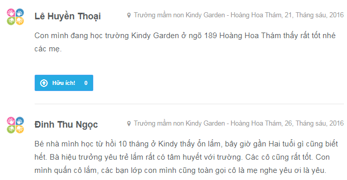Nhận xét, đánh giá của phụ huynh về trường mầm non Kindy Garden tại quận Ba Đình - Hà Nội (Ảnh: Kiddi.vn)