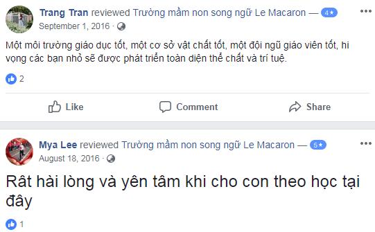 Nhận xét, đánh giá của phụ huynh về trường mầm non Le Macaron tại quận Đống Đa, Hà Nội (Ảnh: FB trường)