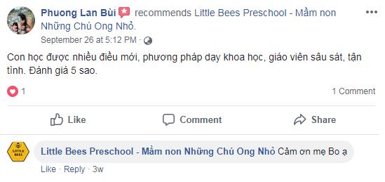 Nhận xét, đánh giá của phụ huynh về trường mầm non Little Bees - Những chú ong nhỏ tại quận Cầu Giấy, Hà Nội (Ảnh: FB trường)