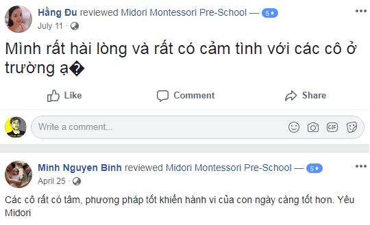Nhận xét, đánh giá của phụ huynh về trường mầm non Midori Montessori tại quận Cầu Giấy, Hà Nội (Ảnh: FB trường)