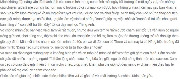 Nhận xét, đánh giá của phụ huynh về trường mầm non Sunshine Kids - Tia nắng mặt trời tại quận Nam Từ Liêm - Hà Nội (Ảnh: website trường)