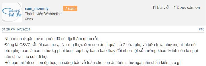 Nhận xét, đánh giá của phụ huynh về trường mầm non Teddy Bear tại quận Ba Đình, Hà Nội (Ảnh: Webtretho)