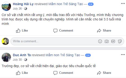 Nhận xét, đánh giá của phụ huynh về trường mầm non Trẻ Sáng Tạo - CK Kindergarten tại quận Hoàng Mai, Hà Nội (Ảnh: FB trường)