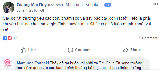 Nhận xét, đánh giá của phụ huynh về trường mầm non Tsubaki tại quận Bắc Từ Liêm và quận Hà Đông, Hà Nội (Ảnh: FB trường)