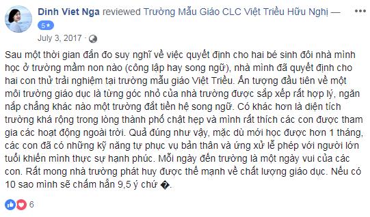 Nhận xét, đánh giá của phụ huynh về trường mầm non Việt Triều Hữu nghị tại quận Đống Đa, Hà Nội (Ảnh: FB trường)