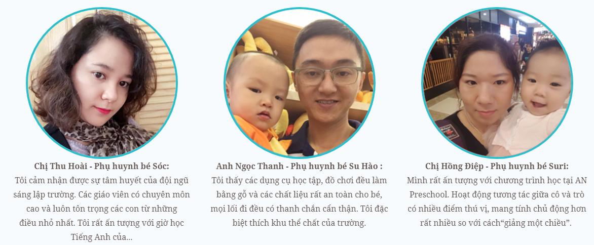 Nhận xét, đánh giá về trường mầm non AN tại quận Nam Từ Liêm, Hà Nội (Ảnh: website trường)
