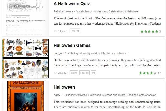 Tổng hợp trang web để tải miễn phí trò chơi, hoạt động Halloween (Ảnh: Busy Teacher)