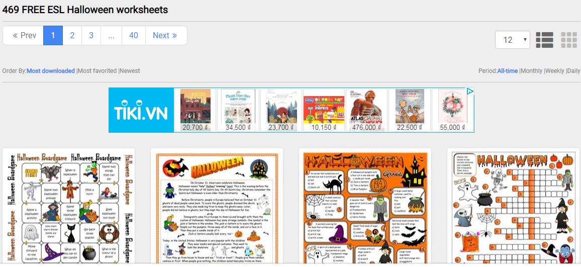 Tổng hợp trang web để tải miễn phí trò chơi, hoạt động Halloween (Ảnh: ISLCollective)