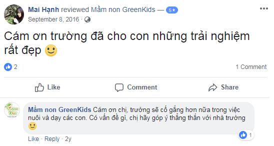 nhận xét, đánh giá của phụ huynh về trường mầm non GreenKids tại quận Hà Đông, Hà Nội (Ảnh: FB trường)