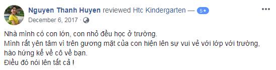 Nhận xét, đánh giá của phụ huynh về trường mầm non HTC tại quận Thanh Xuân, quận Hai Bà Trưng, Hà Nội (Ảnh: FB trường)
