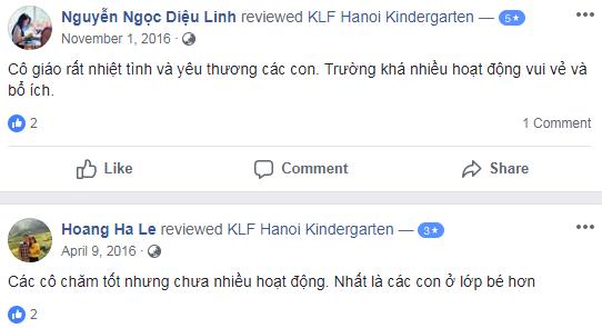 Nhận xét, đánh giá của phụ huynh về trường mầm non KFL Hanoi tại quận Nam Từ Liêm, Hà Nội (Ảnh: FB trường)