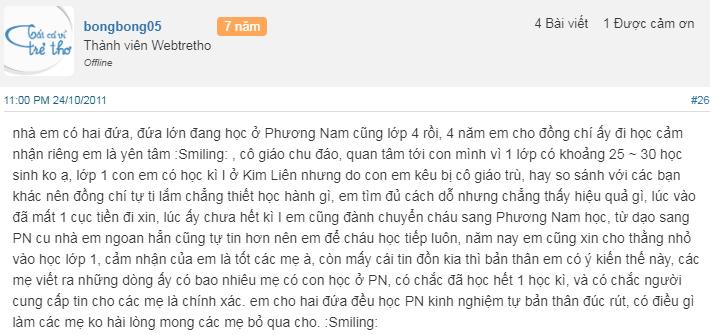 Nhận xét, đánh giá của phụ huynh về trường Tiểu học Phương Nam tại quận Hoàng Mai, Hà Nội (Ảnh: Webtretho)