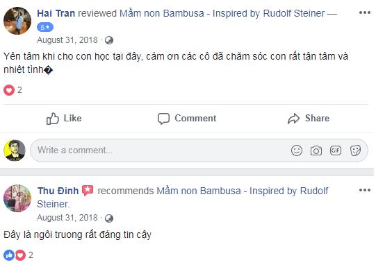 Nhận xét, đánh giá của phụ huynh về trường mầm non Bambusa tại quận Long Biên, Hà Nội (Ảnh: FB trường)