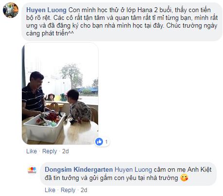 Nhận xét, đánh giá của phụ huynh về trường mầm non Dongsim tại quận Bắc Từ Liêm, Hà Nội (Ảnh: FB trường)